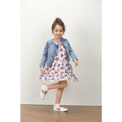 Frilled dress with allover printed flowers