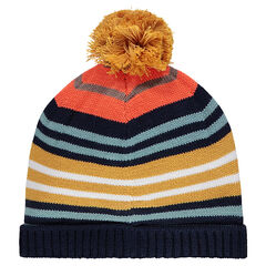 Knit beanie hat with colored jacquard stripes and pompom