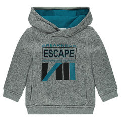 Heathered fleece hoodie with printed message