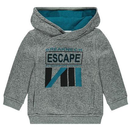Junior - Heathered fleece hoodie with printed message