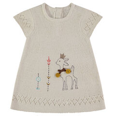 Sleeveless knit dress with a fawn print and embroidered details