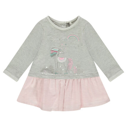 Long-sleeved two-tone 2-in-1 dress with printed unicorn