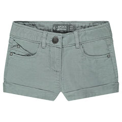 Junior - Trendy, plain-colored, canvas shorts