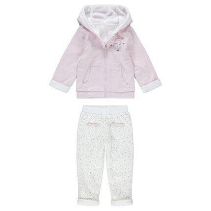 Sherpa-lined bi-material sweatsuit with pants featuring an allover print