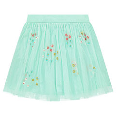 Frilled tulle skirt with embroidered flowers