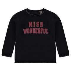 Knit sweater with sequined message