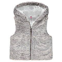 Junior - Sleeveless fake fur cardigan