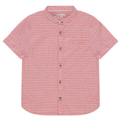 Short-sleeved cotton shirt with a mandarin collar