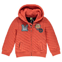 Fleece crisscross jacket with patches