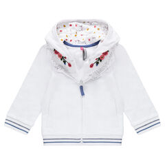 Hooded fleece jacket with sewn ears and embroidered details