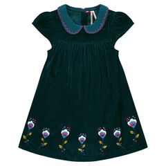 Panne velvet dress with Peter Pan collar and embroidery