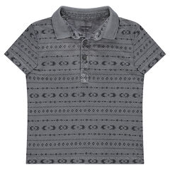 Short-sleeved jersey polo shirt with geometric motifs