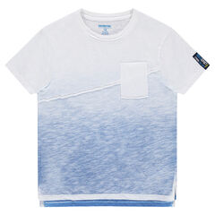 Junior - Tie-and-dye effect slub jersey tee-shirt with a seam and pocket