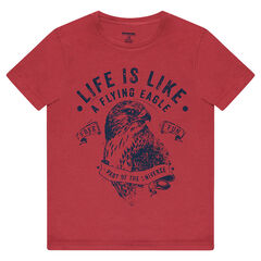 Short-sleeved jersey tee-shirt with eagle print