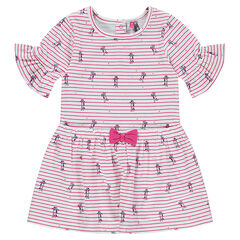 Striped dress with frilled sleeves and a little sewn bow