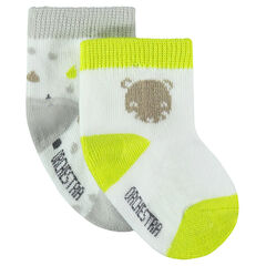 Set of 2 pairs of socks with motifs and fluorescent hints