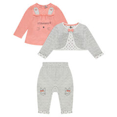 3-piece set with printed tee-shirt, vest and pants