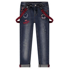 Used-effect jeans with removable straps and ©Smiley