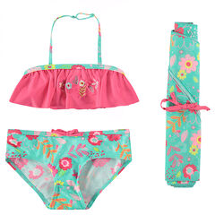 2-piece swimsuit with a frilled top and assorted pareo