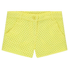 Yellow shorts in eyelet embroidery