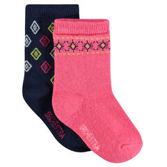 Set of 2 pairs of socks with jacquard motif