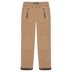Twill pants with zipped pockets