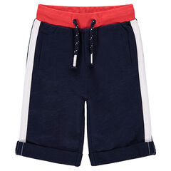Fleece bermuda shorts with contrasting bands on the sides