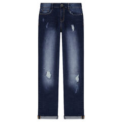 Junior - Distressed and crinkled-effect jeans with worn details