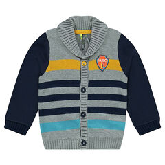 "Striped knit cardigan with a shawl collar and ""DJ"" badge"