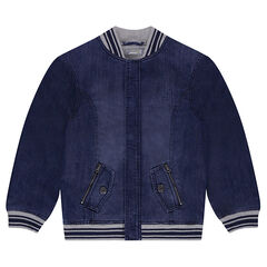 Junior - Jean teddy jacket with Zip Pockets