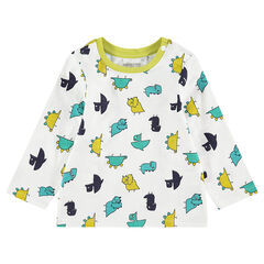 Long-sleeved slub jersey tee-shirt with allover printed dinosaurs
