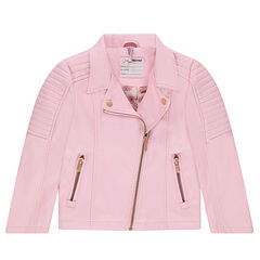 Pink imitation leather biker jacket with zipped pockets