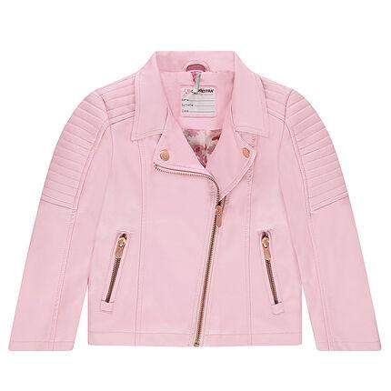 Pink imitation leather biker jacket with zipped pockets
