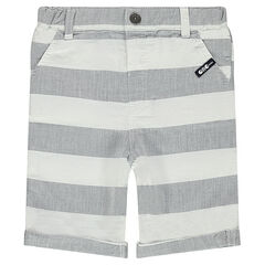 Cotton bermuda shorts with contrasting bands