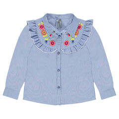 Tencel blouse with frill and embroidery