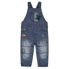 Denim-effect fleece overalls with letter and hot dog patches