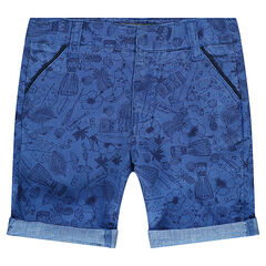 Cotton bermuda shorts with an allover print