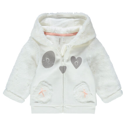 Hooded fleece and sherpa jacket with panda prints on pockets
