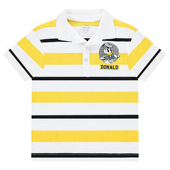 Short-sleeved striped jersey polo shirt with ©Disney Donald Duck print