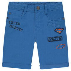 Blue twill bermuda shorts with ©Warner Superman badges