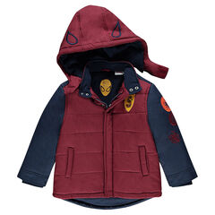 Quilted Spiderman parka with removable hood