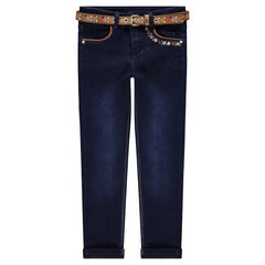 Used-effect slim-fit jeans with a removable ethnic-style belt