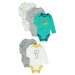 Set of 5 long-sleeved printed bodysuits