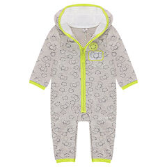 Hooded fleece jumpsuit with allover printed animals