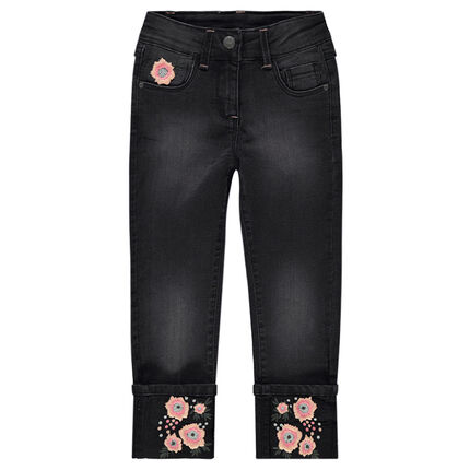 Used-effect jeans with embroidered flowers