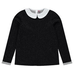 Junior - Sparkly jacquard fleece sweatshirt with Peter Pan collar