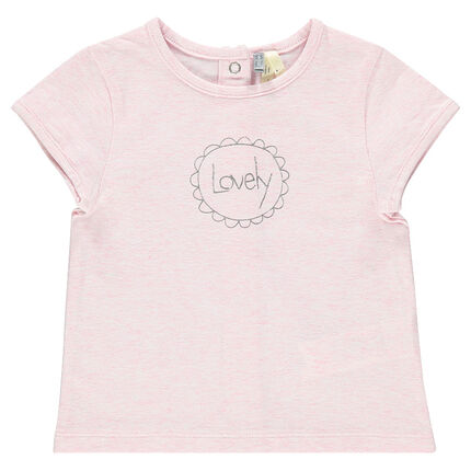 Short-sleeved tee-shirt for newborns with decorative writing