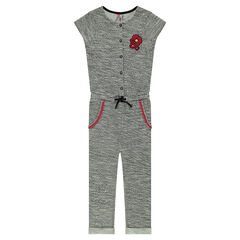 Long fleece one-piece suit with poppy patch
