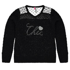 Junior - Knit sweater with lace and sequins