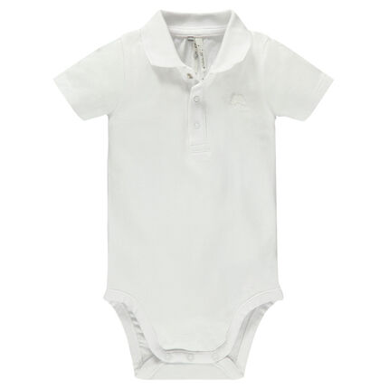 Short-sleeved bodysuit with polo-neck collar